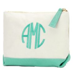 Mint Monogrammed Canvas Cosmetic Bag - BeauJax Boutique There's nothing like the simple elegance of a monogrammed, cotton canvas cosmetic bag! This bag is just waiting for your personalized style. Choose your favorite monogram font and thread color. www.beaujax.com