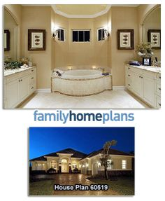 House Plan 60519 | Total living area: 3089 sq ft, 3 bedrooms & 3 bathrooms. This luxurious master bathroom is laid out with his and her closets and vanities with a spa tub and shower. See the floor plans and many more interior pictures here: http://www.familyhomeplans.com/plan_details.cfm?PlanNumber=60519&OrderCode=PT101 #masterbath