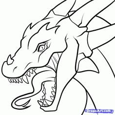 Cool easy drawings art pictures to draw Realistic Dragon Drawing, Dragon Head Drawing, Easy Dragon Drawings, Cool Easy Drawings, Easy Animal Drawings, Easy Drawing Steps, Outline Drawings, Step By Step Drawing, Simple Dragon Drawing