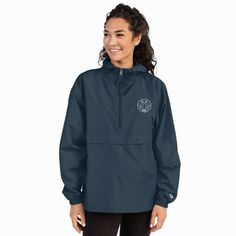 Embroidered Champion Packable Jacket – My New Print The Smarter Choice Champion Brand, Champion Jacket, Packable Jacket, Christian Clothing, Half Zip Pullover, Unique Fashion, My Wardrobe, Windbreaker, Jackets For Women