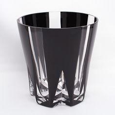 江戸切子ロックグラス 風車(黒)