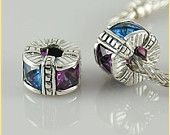 Winter Night Sky Trollbead / Pandora Style bead charms  Will slide on to your pandora or trollbeads bracelets