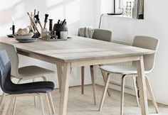 The Harmony dining table is a classic and rustic long table inspired from French country style. The table is available in solid oak and beech as well as with a white laminate top. The table is manufactured in two l. Scandi Dining Table, Kitchen Dining, Dining Tables, Small Dining, Dining Area, Dining Room, The Tables Have Turned, White Laminate, Scandinavian Kitchen