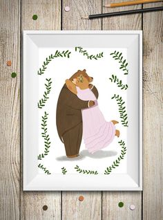 Bear couple illustration  woodland nursery by aCupOfCreativity