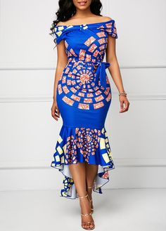 African Print Dress Printed Belted Off the Shoulder Mermaid Dress Ankara Dress Styles, Ankara Gowns, African Print Dresses, African Fashion Dresses, African Attire, African Wear, African Prints, African Style, African Dress Styles