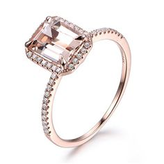 Morganite Engagement Ring,6x8mm Emerald Cut,14K Rose Gold,Diamond Wedding Band,Promise,Anniversary Ring
