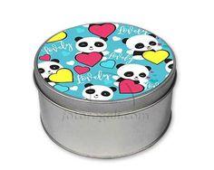 scatola di latta con grafica con panda