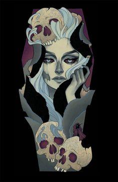 'Death Shroud' by Glenn Arthur Tattoo Avant Bras, Glenn Arthur, Girl Face Drawing, Skeleton Art, Comic Kunst, Pop Culture Art, Beautiful Drawings, Art And Illustration, Skull Art