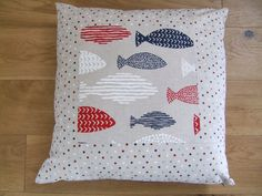 Coastal themed scatter cushion. Nautical colou red, white and blue nautical fish print and spot cotton linen cushion/pillow cover 20""