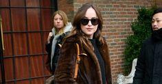 Dakota Johnson in Gucci Fur Coat