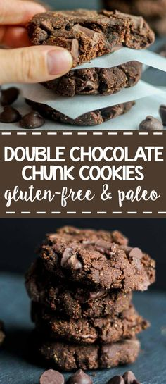 Soft and chewy double chocolate paleo cookies are a sweet and rich dessert…
