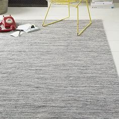 Melange Flatweave Cotton Rug - Feather Gray. 6X9.  Made in India. West Elm. (SOLD OUT.)
