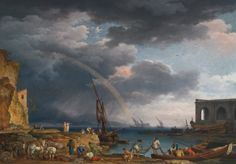 "L'ARC EN CIEL: AN ITALIANATE  COASTAL VIEW WITH A RAINBOW, FISHERMAN, AND PEASANTS AT AN INLET IN THE FOREGROUND, A SHIPWRIGHT'S YARD BEYOND. 1749. oil on canvas. 114,3 × 162,7 cm. Signed and dated: "" Joseph. Vernet. f/Romae 1749"" lower left. Sotheby's. New York. Old Master Paintings. 30/01/2014. Lot 60. Estimate: 1.800.000/2.500.000 $."