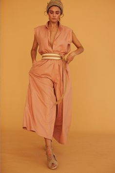 Electric Feathers   sleeveless tuxedo top and wide leg pants belted jumpsuit, peach colour