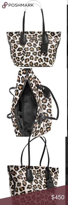 """Coach Taxi Zip Top Tote Ocelot Leopard Print This tote is crafted In lightweight textured leather with a graphic ocelot print, this aptly named tote is made for a woman with places to go. A modern, flared shape and oversized versions of the original Coach strap anchors add playful proportions to its spacious design. Ocelot printed leather. Inside zip, cell phone and mutlifunction pockets. Zip-top closure, fabric lining. Handles with 9"""" drop. 17 1/4"""" (L) x 10 3/4"""" (H) x 7 1/2"""" (W). Color…"""