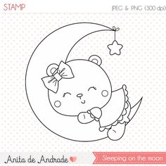 50% OFF Sleeping on the moon Stamp - personal and commercial use - Sleep time line art, sweet baby bear graphic, digital clip art - S033