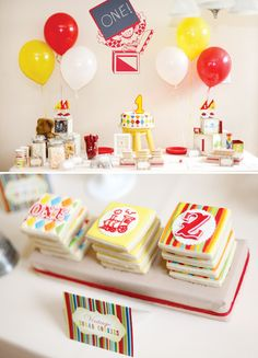 Vintage toy birthday party. Very cute.