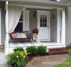 painted porch floor | Painted porch floor, daylilies, pillows | Patios