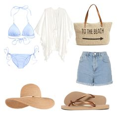 """Sans titre #8"" by alice0001 ❤ liked on Polyvore featuring Melissa Odabash, Topshop, Havaianas, Straw Studios and Eugenia Kim"