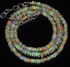 """35 Tcw 3 to 5.5 mm 16"""" Natural Ethiopian Welo Fire Opal Necklace ---235"""