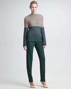 Colorblock Knit Sweater & Marion Straight-Leg Pants by Piazza Sempione at Neiman Marcus.