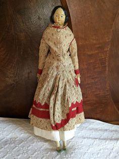 """Antique Doll 18"""" Papier-Mache Girl with Red Dress"""
