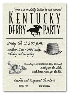 8dcb9299b06 Billboard Kentucky Derby Day Party Invitations are printed in shimmery  quartz white papers and have matching
