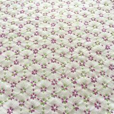 刺し子の布巾 花亀甲 大 緑紫   ハンドメイド・手作り作品の通販 tetote