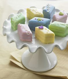 Baby shower petit fours, gourmet petit fours, mini baby shower cakes Baby Shower Cakes, Baby Cakes, Diaper Cakes, Mini Cakes, Cupcake Cakes, Tea Cakes, Eclairs, Cake Pops, Petit Cake