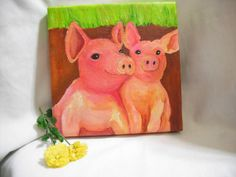 Pigs Painting on Canvas aka Perky Pigs Happy by SharonFosterArt, $35.00