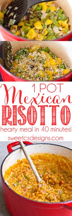 one pot mexican risotto- just 40 minutes and it feeds Our family loves this meal! Mexican Dishes, Mexican Food Recipes, Healthy Recipes, Clean Recipes, Easy One Pot Meals, Quick Meals, Entree Recipes, Dinner Recipes, Risotto Recipes
