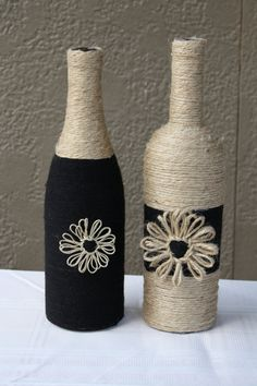 Decorative Bottles : Welcome to my Etsy store. The bottles pictured here are carefully wrapped in twine using average size wine bottles. There is some variance in -Read Wrapped Wine Bottles, Wine Bottle Corks, Glass Bottle Crafts, Diy Bottle, Twine Bottles, Glass Bottles, Bottle Picture, Wine Craft, Painted Wine Bottles