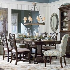 "This is the DR table I want! Moultrie Park Double Pedestal Dining Table from Bassett  $1709.  18"" leaves x 2, extends to 112"" and seats up to 10"