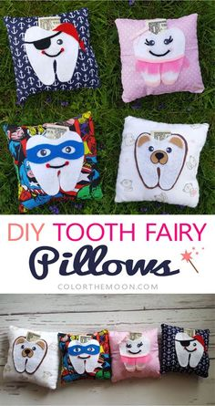 DIY Tooth Fairy Pillows 2019 These DIY tooth fairy pillows are SO CUTE! Superhero Pirate Ballerina and Bear. What a fun craft project to get the kids excited for the tooth fairy! The post DIY Tooth Fairy Pillows 2019 appeared first on Pillow Diy. Tooth Pillow, Tooth Fairy Pillow, Baby Pillows, Kids Pillows, Fairy Gifts, Diy Bebe, Sewing Pillows, Planner, Sewing Projects For Beginners