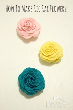 How To Make Ric Rac Flowers http://todayscreativeblog.net/how-to-make-ric-rac-flowers/  How cute are these? Great for hair clips, gift toppers, necklaces etc...  TodaysCreativeBlog.net