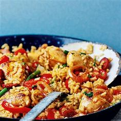 Ooo fancy trying this - Chicken and chorizo paella Recipe Chicken And Chorizo Paella Recipe, Chicken Recipes, Spanish Dishes, Delicious Magazine, Cooking Recipes, Healthy Recipes, Portuguese Recipes, Nigella, Mediterranean Recipes