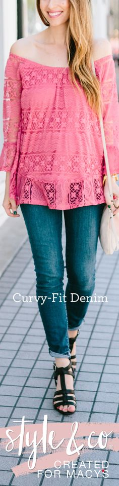 Create fun and flirty outfits like Mara Ferreira for the summer with a pair of Style & Co Curvy-Fit Jeans. Whether you're heading to work or on your way to grab lunch, our Curvy-Fit jeans are fit for  (Boho Top And Jeans)