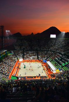 A general view as the sun sets on Day 1 of the Rio 2016 Olympic Games at the Beach Volleyball Arena on August 6 2016 in Rio de Janeiro Brazil