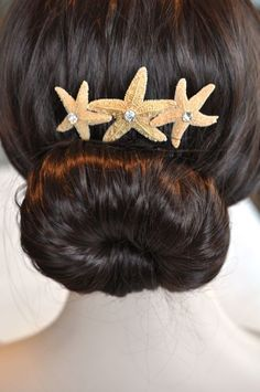 Sugar Starfish & Rhinestone Comb, Destination or Beach Wedding (Sparkle-1750-U)