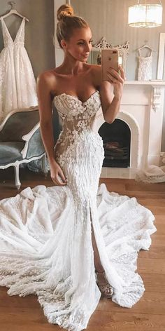 Mermaid Wedding Dresses - There are wedding dresses, and then there are the BEST wedding dresses. Fashion wedding gowns from the most popular bridal designers here. Wedding Dress Tea Length, Sexy Wedding Dresses, Wedding Attire, Bridal Dresses, Wedding Gowns, Pinina Tornai Wedding Dresses, Strapless Lace Wedding Dress, Stunning Wedding Dresses, Backless Wedding