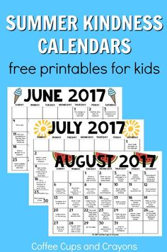 Free printable summer kindness calendars for kids! Includes coordinating RAK cards to use too! Free printable summer kindness calendars for kids! Includes coordinating RAK cards to use too! Summer Fun For Kids, Summer Activities For Kids, Fun Activities, Summer Work, Reading Activities, Kids Summer Schedule, Reading Games, Summer Goals, 2017 Summer