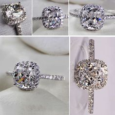 Classic Halo 1CT Cushion Cut White Diamond Engagement Ring