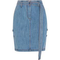 Steve J & Yoni P Belted denim skirt ($320) ❤ liked on Polyvore featuring skirts, bottoms, mid denim, blue skirt, button skirt, belted skirt, denim skirt and button-front denim skirts