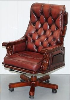 Huge Over Sized Chesterfield Oxblood Leather Captains Office Chair Pine Frame