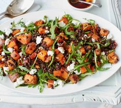 Sweet potato, lentil and feta salad This hearty, healthy salad is packed with roasted sweet potatoes, carrots and red onion, which pair wonderfully with Puy lentils and crumbled feta. Healthy Salad Recipes, Veggie Recipes, Vegetarian Recipes, Dinner Recipes, Cooking Recipes, Shrimp Recipes, Thai Recipes, Greek Recipes, Potato Recipes