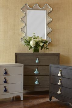 NEW from oomph - Easton chest - in 2 sizes, 16 lacquer colors or Storm and Driftwood. Warm silver Easton mirror with contrast detail.