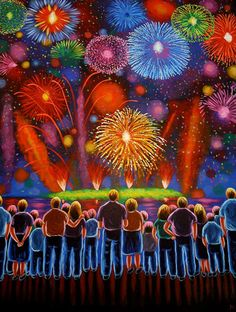Fireworks Naive painting Folk Art Original acrylic by treeartist, $3500.00