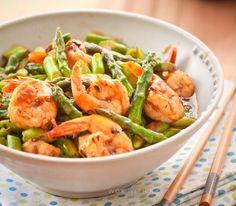 stir fried shrimp and asparagus in Black bean sauce - wok with ray
