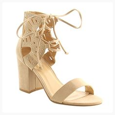 b8603b4df6928b Best-choise Women s Shoes Studded Lace Up Back Zipper Block Heel Sandals  for Ladies Open Toe Single Band Perfect Gift ( Color   BEIGE