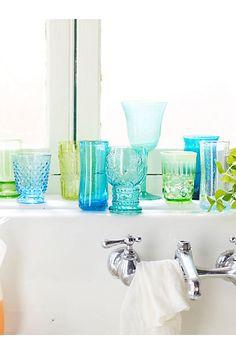 Blue, green, turquoise, aqua glasses  Anthropologie